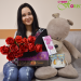 Red roses and soft toy delivery to Kremenchug