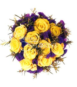 Flowers melody a bouquet of yellow roses and statice the flowers melody mightylinksfo