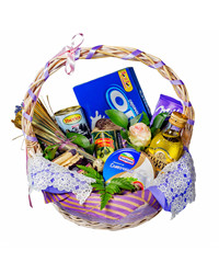 This astonishing gift basket includes honey, cheese, quail eggs and other delicacies.
