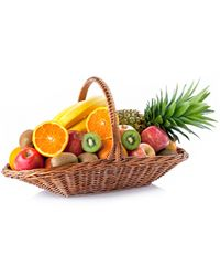 The basket of ripe fresh fruit will let you share joy and vitamins.