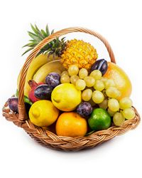Fresh fruit nicely arranged in this basket will look great on a dinner table.