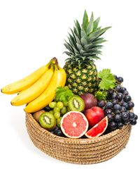 The bright basket of fresh ripe fruit will give some enjoyable moments.
