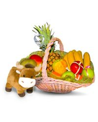 Nice holiday basket with fresh fruit and a stuffed animal.
