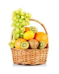 Basket of fresh fruit.