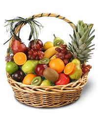 A delicious basket arrangement of the freshest apples, pears, oranges, kiwifruit, bananas, grapes and a pineapple.