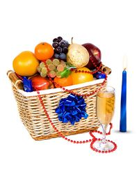 Great holiday basket with fresh fruit, chocolate candies and sparkling wine